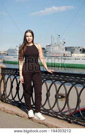 Illustrative Editorial.Pretty tourist girl from Kiev,Ukraine - posing in historical city center of Saint-Petersburg..ST. PETERSBURG, RUSSIA , July 4, 2017