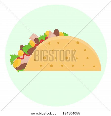 Flat Vector Delicious Tacos With Meat And Vegetables Icon