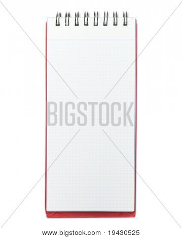 Blank memo pad with red cover