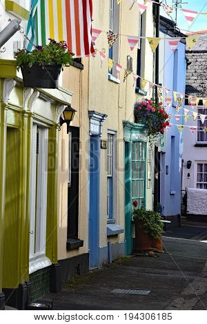 Appledore England 4th July 2017 - Market Street. Full of old and colourful fishmans and traders cottages in the ancient coastal port of Appledore in North Devon Engand
