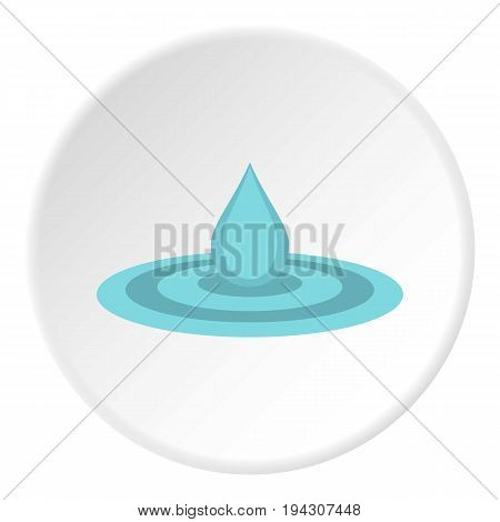 Water drop and spill icon in flat circle isolated vector illustration for web