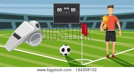 Soccer score horizontal concept. Cartoon illustration of soccer score banner horizontal vector for web