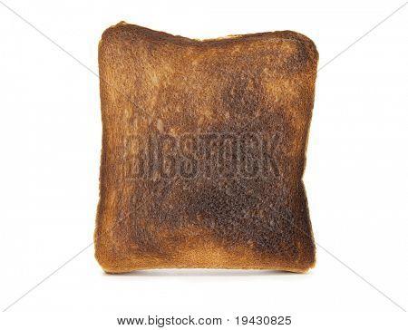 Burnt toast isolated on white.