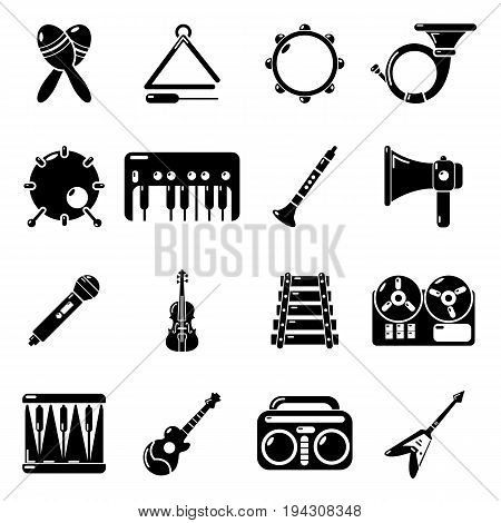 Musical instruments icons set. Simple illustration of 16 musical instruments vector icons for web