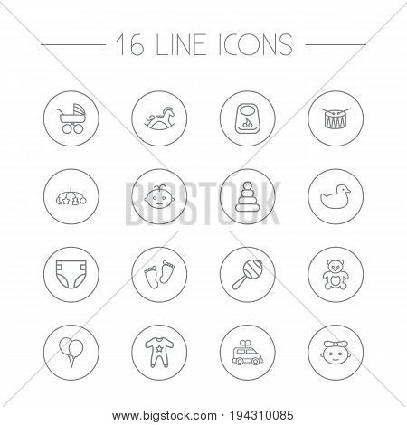 Set Of 16 Kid Outline Icons Set.Collection Of Boy, Toys, Baby And Other Elements.