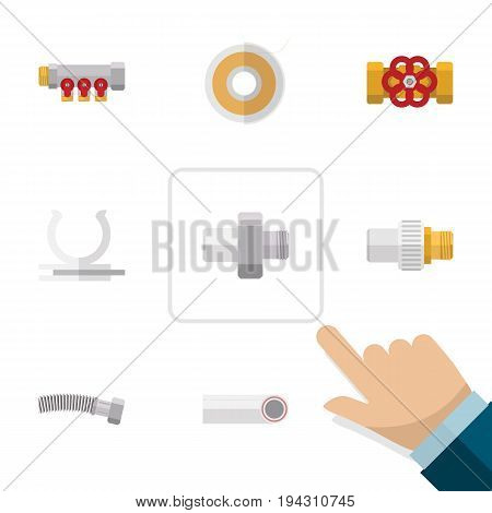 Flat Icon Industry Set Of Pump Valve, Pipework, Roll And Other Vector Objects. Also Includes Pipework, Roll, Valve Elements.