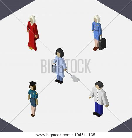 Isometric Person Set Of Male, Policewoman, Hostess And Other Vector Objects. Also Includes Man, Woman, Housemaid Elements.