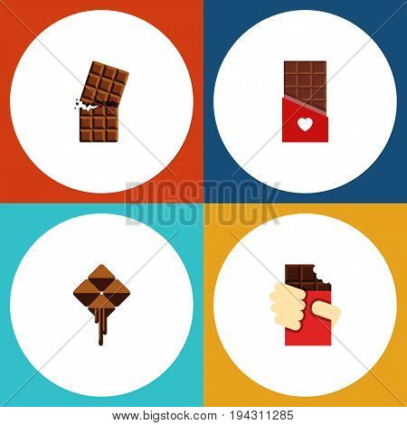 Flat Icon Cacao Set Of Wrapper, Chocolate, Delicious And Other Vector Objects. Also Includes Delicious, Bitter, Shaped Elements.