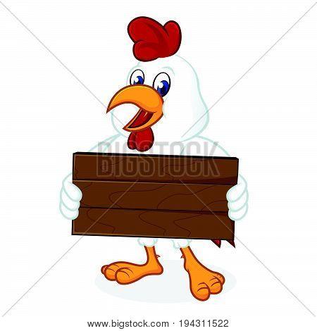 Chicken Cartoon Holding Wooden Plank