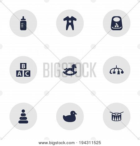 Set Of 9 Baby Icons Set.Collection Of Barrel, Smock, Toy And Other Elements.