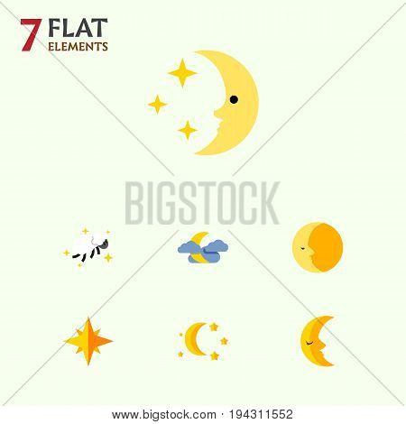 Flat Icon Night Set Of Asterisk, Bedtime, Night And Other Vector Objects. Also Includes Sky, Nighttime, Cloud Elements.