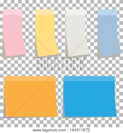 colorfull sticky notes. blank sticky notes set.