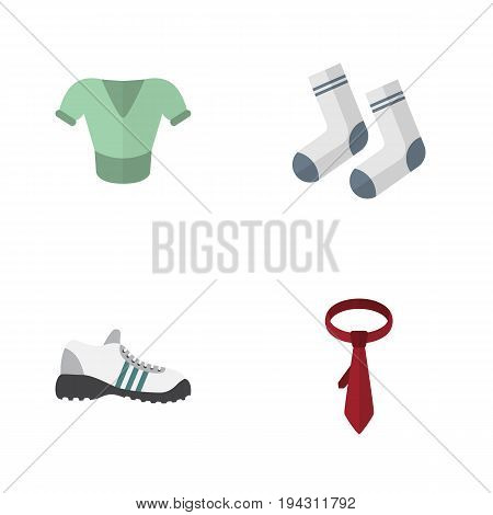 Flat Icon Dress Set Of Cravat, Sneakers, Foot Textile And Other Vector Objects. Also Includes Socks, Clothes, Cravat Elements.