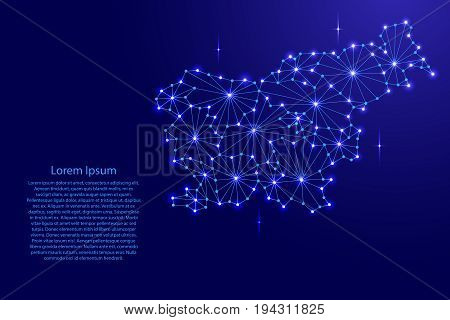 Slovenia map of polygonal mosaic lines network rays and space stars of vector illustration.