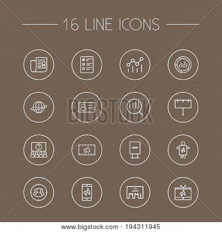 Set Of 16 Commercial Outline Icons Set.Collection Of Ad Banner, Research, Target And Other Elements.