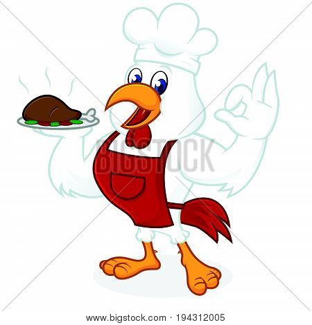 Chicken Cartoon Wearing Chef Hat And Apron