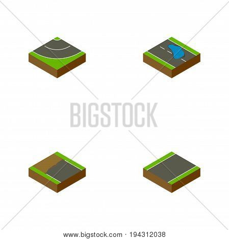 Isometric Way Set Of Unilateral, Road, Plash And Other Vector Objects. Also Includes Plash, Road, Bitumen Elements.