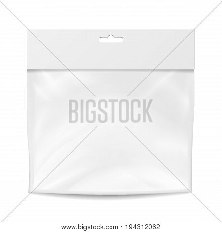 Plastic Pocket Vector Blank. Realistic Mock Up Template Of Plastic Pocket Bag. Clean Hang Slot. Packing Design Template. Isolated Illustration