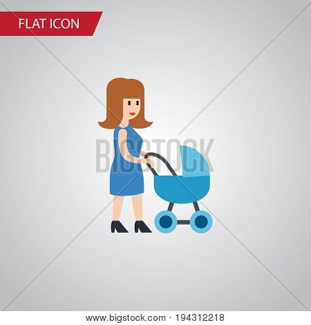 Isolated Mother Flat Icon. Perambulator Vector Element Can Be Used For Mother, Perambulator, Baby Design Concept.