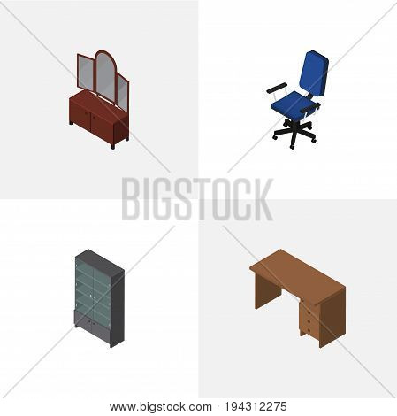 Isometric Furniture Set Of Table, Drawer, Office And Other Vector Objects. Also Includes Chair, Mirror, Sideboard Elements.