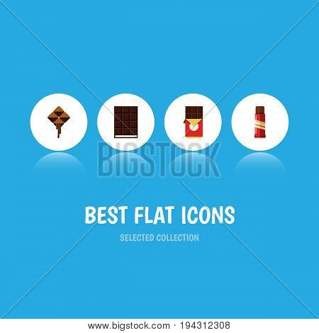 Flat Icon Sweet Set Of Chocolate Bar, Delicious, Dessert And Other Vector Objects. Also Includes Cocoa, Confection, Sweet Elements.