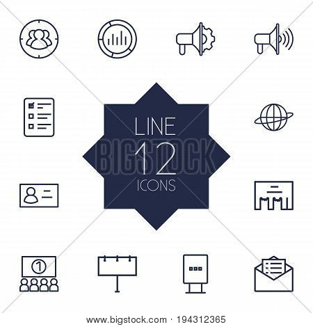Set Of 12 Trade Outline Icons Set.Collection Of Stand, Audience, Advertising Agency Elements.