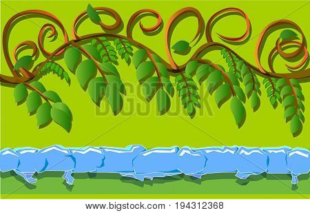 An image consisting of two horizontal objects. The first object is a branch with leaves, and the second object is a strip of ice.