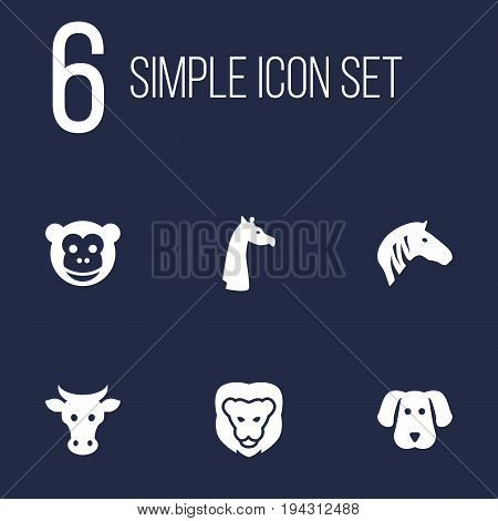 Set Of 6 Alive Icons Set.Collection Of Hound, Kine, Horse And Other Elements.