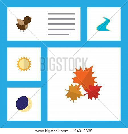 Flat Icon Ecology Set Of Tributary, Solar, Canadian And Other Vector Objects. Also Includes Sunshine, Wing, Sun Elements.