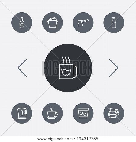 Set Of 9 Drinks Outline Icons Set.Collection Of Coffeepot, Mug, Pot And Other Elements.