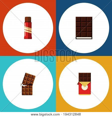 Flat Icon Cacao Set Of Wrapper, Dessert, Chocolate Bar And Other Vector Objects. Also Includes Chocolate, Wrapper, Sweet Elements.