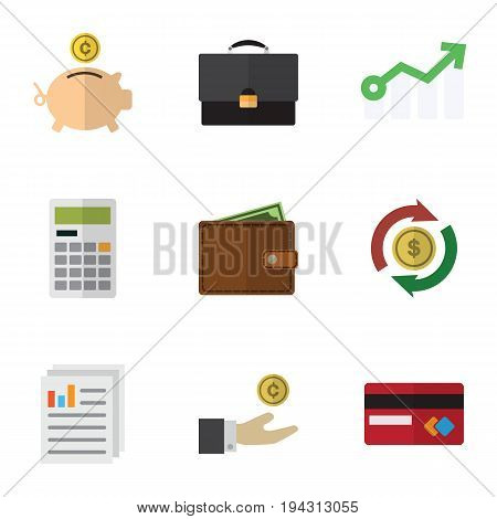 Flat Icon Finance Set Of Calculate, Payment, Money Box And Other Vector Objects. Also Includes Arrow, Money, Mastercard Elements.