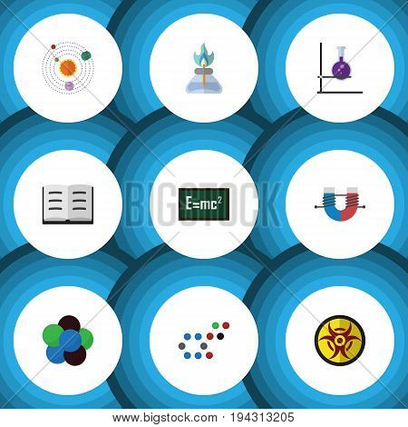 Flat Icon Study Set Of Danger, Flame, Proton And Other Vector Objects. Also Includes Attractive, Lecture, Chemical Elements.