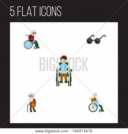 Flat Icon Disabled Set Of Handicapped Man, Spectacles, Ancestor Vector Objects. Also Includes Spectacles, Wheelchair, Ancestor Elements.