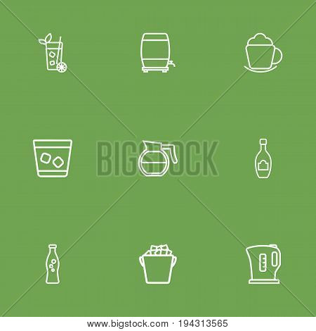 Set Of 9 Drinks Outline Icons Set.Collection Of Coffeepot, Soda, Whiskey And Other Elements.