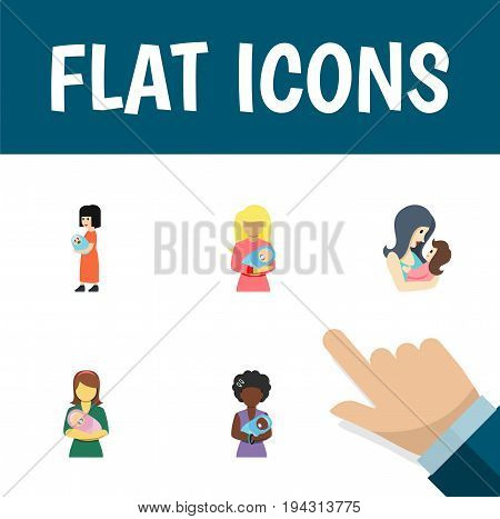 Flat Icon Parent Set Of Baby, Mam, Woman And Other Vector Objects. Also Includes Baby, Newborn, Kid Elements.
