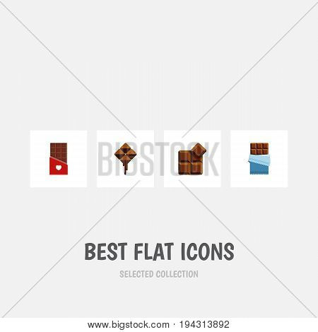 Flat Icon Bitter Set Of Bitter, Delicious, Cocoa And Other Vector Objects. Also Includes Shaped, Bitter, Chocolate Elements.