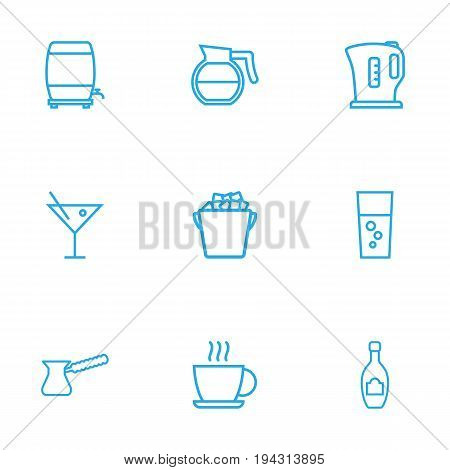 Set Of 9 Drinks Outline Icons Set.Collection Of Fizzy Water, Hot Drink, Cocktail And Other Elements.