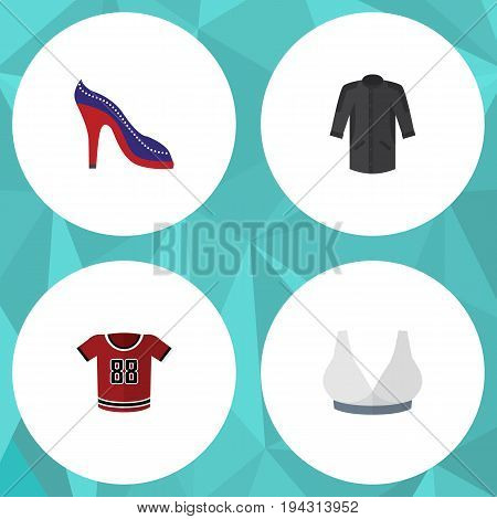 Flat Icon Clothes Set Of T-Shirt, Heeled Shoe, Uniform And Other Vector Objects. Also Includes Heeled, Uniform, Sport Elements.