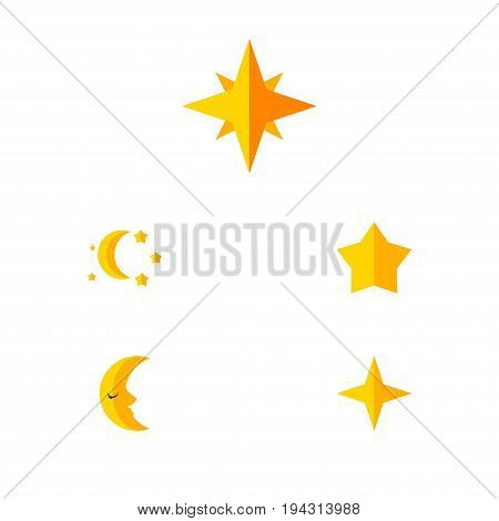 Flat Icon Bedtime Set Of Moon, Bedtime, Asterisk And Other Vector Objects. Also Includes Star, Asterisk, Sky Elements.