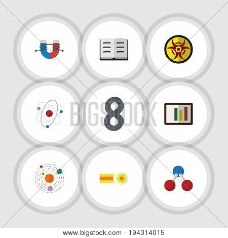 Flat Icon Science Set Of Lecture, Orbit, Attractive Force And Other Vector Objects. Also Includes Column, Danger, Risk Elements.