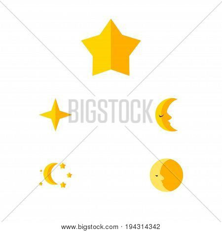 Flat Icon Night Set Of Starlet, Star, Bedtime And Other Vector Objects. Also Includes Moon, Crescent, Twilight Elements.