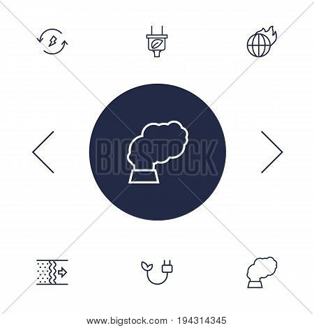 Set Of 6 Bio Outline Icons Set.Collection Of Plug, Pollution, Global Warming And Other Elements.