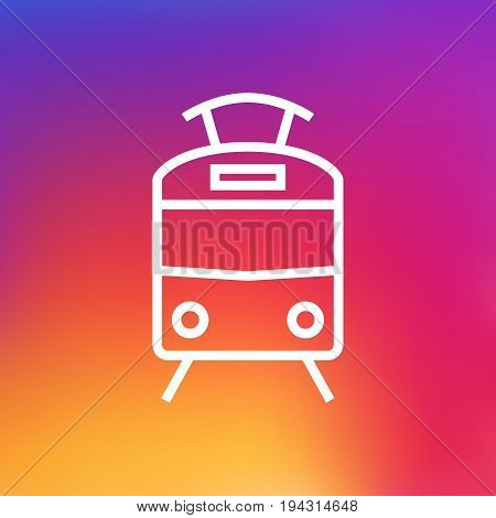 Isolated Streetcar Outline Symbol On Clean Background. Vector Tram Element In Trendy Style.