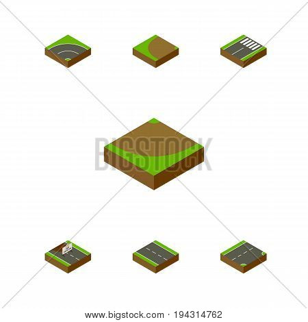Isometric Road Set Of Footer, Repairs, Down And Other Vector Objects. Also Includes Under, Single, Sand Elements.