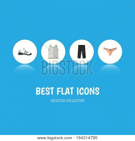 Flat Icon Clothes Set Of Pants, Lingerie, Singlet And Other Vector Objects. Also Includes Shoes, Lingerie, Gumshoes Elements.