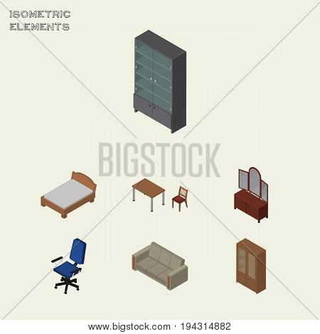 Isometric Design Set Of Bedstead, Couch, Sideboard And Other Vector Objects. Also Includes Bedstead, Settee, Table Elements.