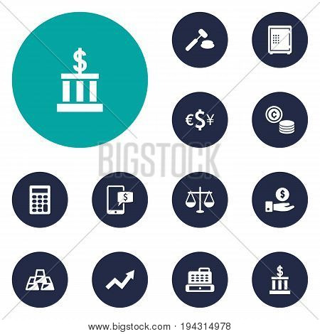 Set Of 12 Finance Icons Set.Collection Of Ingot, Balance, Save Money And Other Elements.