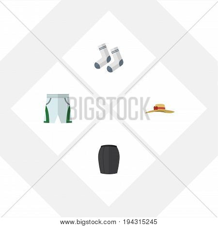 Flat Icon Clothes Set Of Elegant Headgear, Foot Textile, Trunks Cloth And Other Vector Objects. Also Includes Skirt, Hat, Trunks Elements.