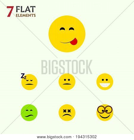 Flat Icon Gesture Set Of Asleep, Displeased, Grin And Other Vector Objects. Also Includes Delicious, Food, Sad Elements.